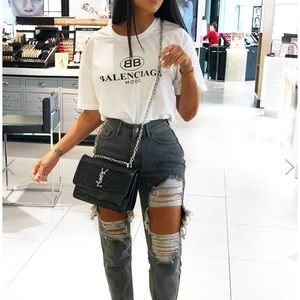 Jeans - Grey Extreme Rip Mom Jeans - Rebellious Fashion UK